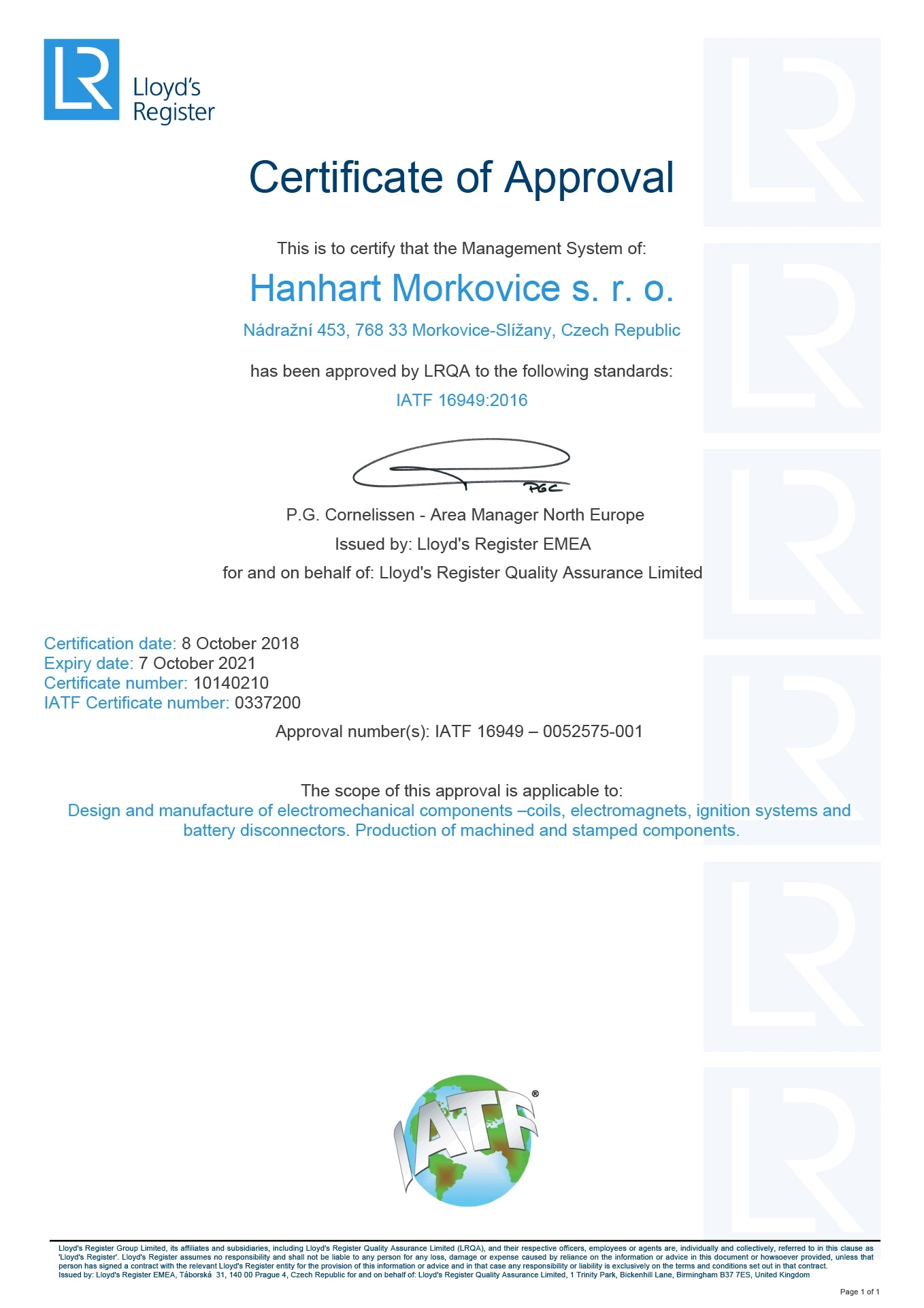 HANHART Morkovice - Certification - 1