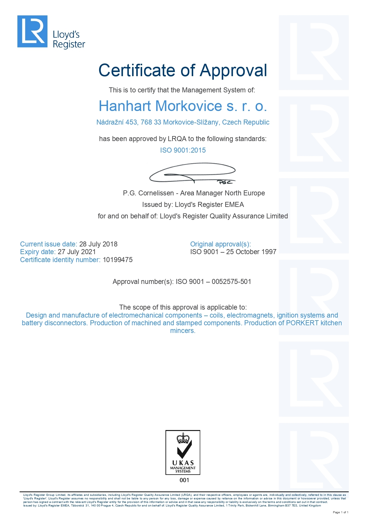HANHART Morkovice - Certification - 3