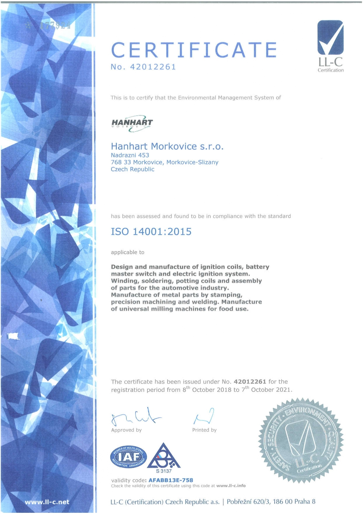 HANHART Morkovice - Certification - 2